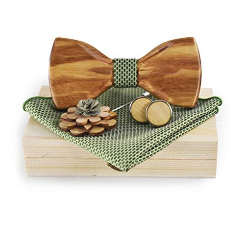 Herren-Fliegen-Set aus Holz, handgefertigt, dunkelbraun, mit quadratischer Tasche, mit Geschenkbox
