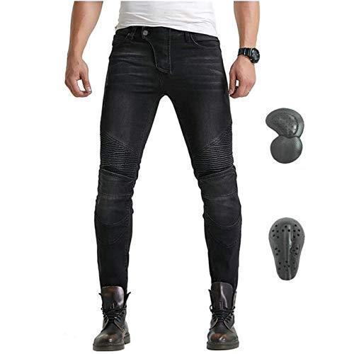 Pantalones De Moto De Invierno Para Hombre, Pantalones Gruesos Y Cálidos De Motocross, Con Versión Mejorada De Almohadilla Protectora Extraíble, Pantalones De Moto Anticaídas (Negro,M)