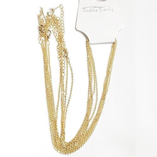 YIJIAO Cadena de metal chapada en oro de 18 quilates para hacer collares, 1,4 mm de grosor, 50 cm de longitud, cadena de cierre de langosta para joyería,
