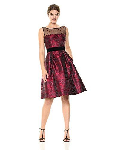 Eliza J Women's Fit and Flare Dress with Illusion Top, Black/Red, 12