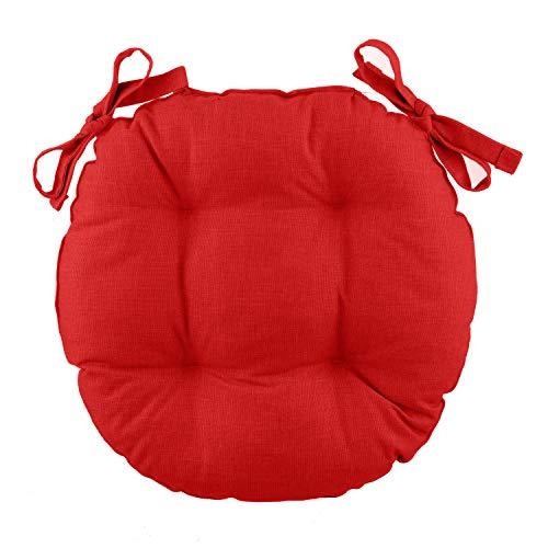 Cuscino sedia tondo Basik rosso in cotone, 38 cm Rosso