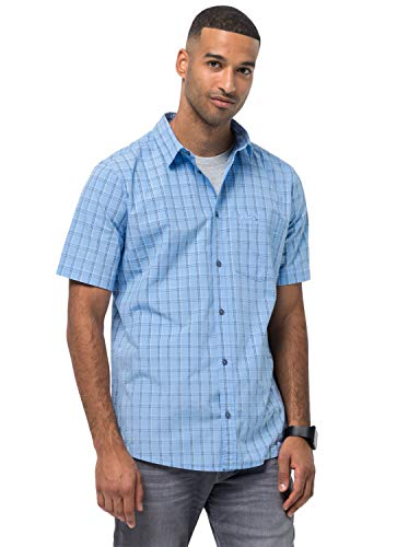 Jack Wolfskin Hot Springs Chemise Homme, Cool Water Checks, FR : S (Taille Fabricant : S)