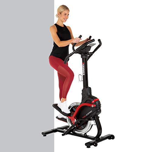 HAMMER Cross Stepper, Mix aus Crosstrainer- und Stepper-Workout, Tablet- und Smartphonehalterung, Fitness-Apps, max. Gewichtsbelastung 130 kg, 108 x 50 x 154 cm