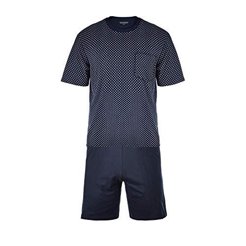 Schiesser Herren Comfort Fit Schlafanzug Kurz Pyjamaset, Blau (Dunkelblau 803), 50