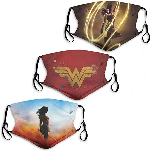 Superhero Won-der Woman Symbol Men Women Face Mask 3PC with 6 Filter Washable Dust-Proof Face Protection Shield Balaclava Reusable Made in USA