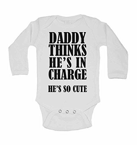 Daddy denkt, hij is in charge hij zo schatte – nieuwe personaliseerbare lange mouwen groeit babyvest bodys baby - jongens, meisjes - wit - 6-9 maanden