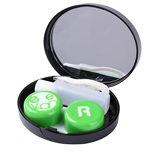 Everpert Quadratische Kontaktlinsenbox Set Unsichtbares Reiseetui Tragbare Stillflüssigkeit Flasche Set Brille Tragen Werkzeug (Grün)