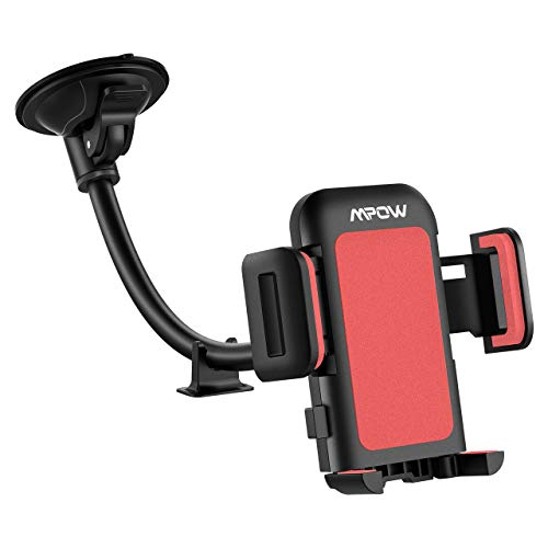 Mpow 033 Car Phone Mount, Windshield Long Arm Car Phone Holder with One Button Design and Anti-Skid Base Car Cradle Compatible iPhone Xs MAX,Xs,Xr,X,8,7,7P,6s, Galaxy S10,S9,S8,Google,LG,HTC(Black)