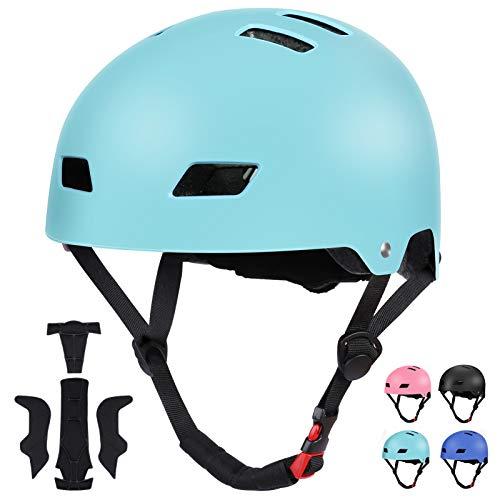 SKATERHELM FÜR INLINER Kinder Skateboard-Helm, Scooter-Helm Gr. 54-58, Skater Helm, Fahrradhelm - Verstellbarer BMX-Helm, mit Drehrad-Anpassung Tiffany blau