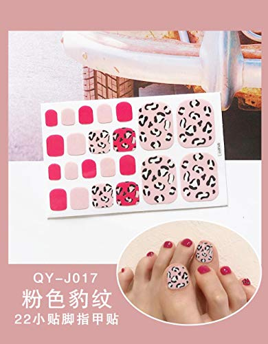 BGPOM Foot Stickers Nail Stickers Nail Stickers Fully Waterproof Lasting 3D Toenail Stickers Patch 10 Sheets/Set,Pink Leopard (QY-J017)