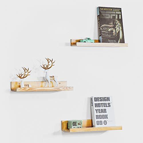 Estantes flotantes, estantes de madera montados en la pared, organizador de estantes de pared, juego de 3 para sala de estar, dormitorio, cocina, baño, oficina