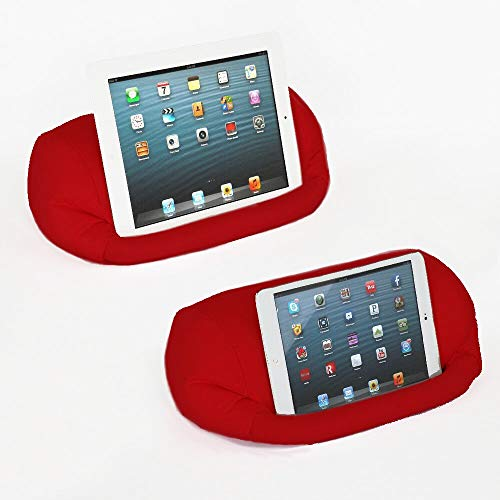 Lap PRO - Mini, Universal Beanbag Lap Stand Compatible with iPad Mini, Kindle, Nexus, Android & All Tablets, E-Readers, Books & Magazines - Bed, Couch, Travel - Adjustable Angle; 0-89 deg. (Red)