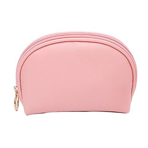 Sac en cuir PU Cosmétique, sac à main imperméable portable pour femme , pink