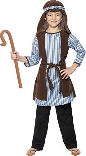 Smiffys Kinder Jungen Schäfer Kostüm, Robe, Kopfteil und EVA-Stab, Größe: S, 33166
