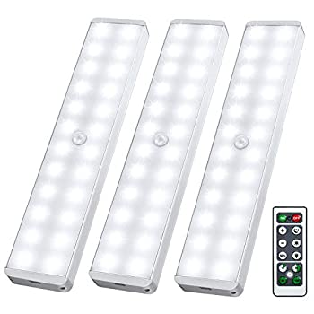 LED Closet Light 24-LED Newest Dimmer USB Rechargeable Motion Sensor Under Cabinet Lighting Wireless Stick-Anywhere Night Safe Light Bar with Remote for Stairs,Wardrobe,Kitchen,Hallway  3 Pcs