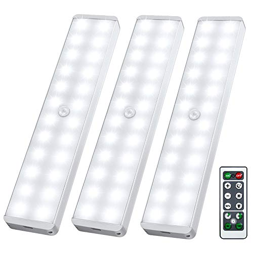 LED Closet Light, 24-LED Newest Dimmer USB Rechargeable Motion Sensor Under Cabinet Lighting Wireless Stick-Anywhere Night Safe Light Bar with Remote for Stairs,Wardrobe,Kitchen,Hallway (3 Pcs)