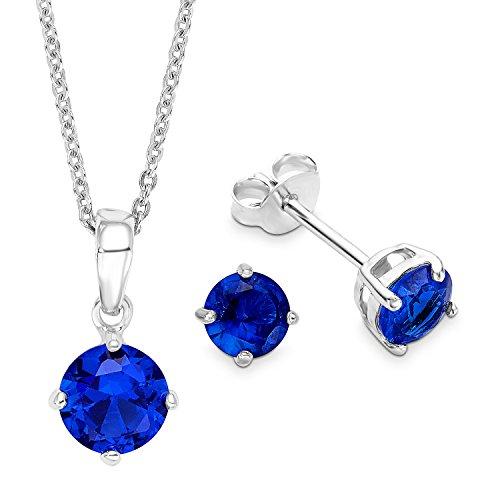 amor Damen-Schmuckset Halskette und Ohrringe 925 Silber rhodiniert Zirkonia