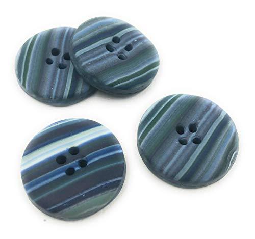 Efimoni 4 Stück Knöpfe, 23mm, blau, 4 Loch, Streifenmuster, leicht gewölbt rund, mehrfarbig Art.Nr.: K00040