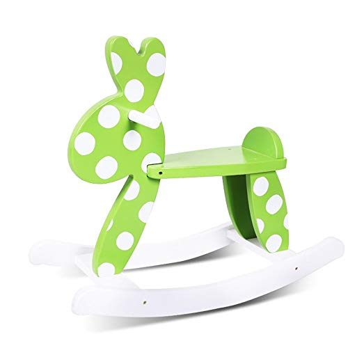 LALAWO Children's leisure chair Children's Wooden Horse Rocking Horse Baby Toy Bunny Deer Rocking Horse Rocking Chair Baby Birthday Gift Rocking Horse Bearing Gravity