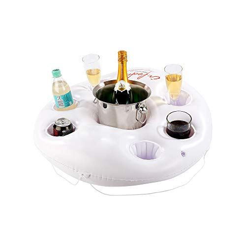 Monsterzeug Schwimmender Getränkehalter für Pool zum Aufblasen, Minibar im Rettungsring-Design, Aufblasbare Poolbar, Bar für See oder Meer, Aqua Bar, Wasserbar Getränkehalter, Weiß