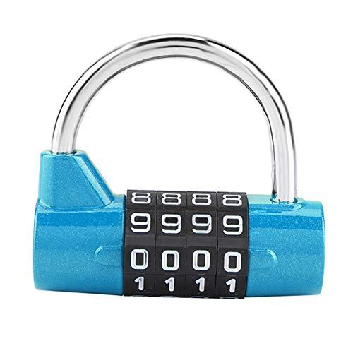 Candado de combinación, Cerradura de seguridad con código de 4 dígitos para el armario, gimnasio, escuela, empleado, maleta de viaje(Blue)