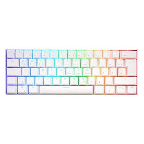 RK ROYAL KLUDGE RK61 Kabellose Tastatur, 60{1264136af4c279f7ebf09a607ce53a5953ef6bdbbfcf4c4d4e84c536624837f8} RGB Mechanische Gaming Tastatur QWERTZ Bluetooth/USB-C Hot Swap Roter Schalter Kompatibel mit MacBook/iPad/Surface/iOS/Mac OX/Windows PC Laptop, Weiß