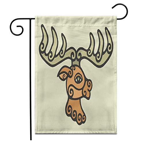 12,5 'x 18' Gartenflagge Aborigines Ethnische Stammesangehörige Keltische Mittelalterliche Schamanen Hirsch Symbol Outdoor Doppelseitige dekorative Haus Hof Flaggen