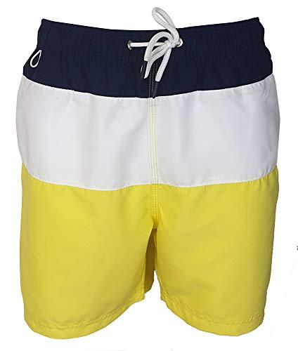 Pierre Cardin Homme Short de Bain avec Signature Broderie (Large, Navy/White/Yellow)