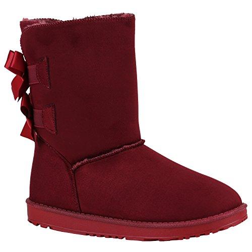 Damen Schlupfstiefel Warm Gefütterte Stiefel Winter Schuhe 152263 Dunkelrot Schleifen 38 Flandell