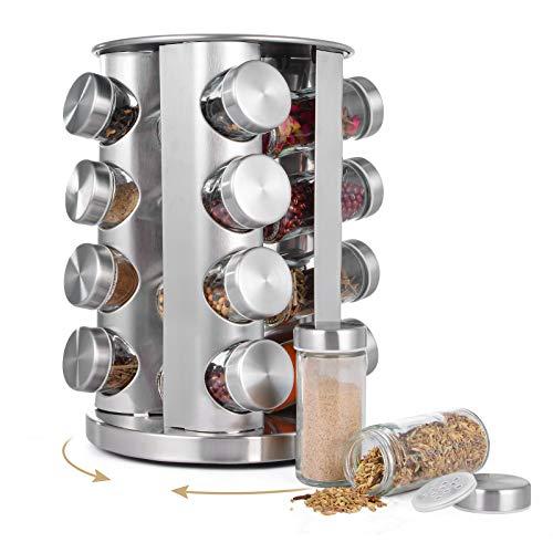 Hivexagon Portaspezie rotante con 16 barattoli di spezie in vetro, portaspezie girevole organizer da appoggio per condimento