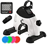 CRUSSAC Portable Exercise Pedal Bike for Legs and Arms, Mini Exercise Peddler with LCD Display...