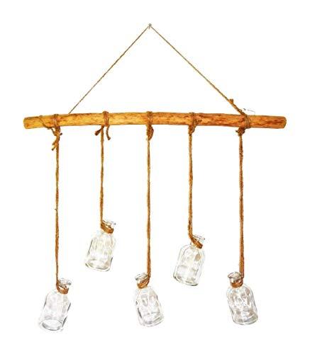 Dekoast zum Aufhängen 58cm mit 5 Vasen (1 Set) Handmade