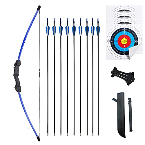 Mxessua 45' Recurve Bow and Arrows Set Outdoor Archery Beginner Gift Longbow Kit with 9 Arrows 4 Target Face Paper 18 Lb for Teens (Blue)