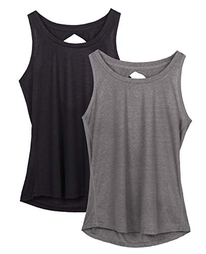 icyzone Yoga Tops Activewear Workout Clothes Open Back Fitness Racerback Tank Tops for Women (M, Black/Grey)