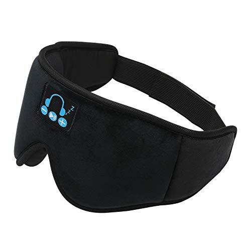 Máscaras de sueño con Bluetooth, máscara de ojos para hombres y mujeres, taza contorneada 3D de música con los ojos vendados, moldeados cóncavos, bloquean la luz, de lado, viajes, yoga siesta
