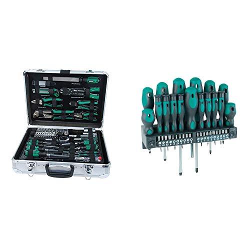 Mannesmann - M29075 - Maletín de herramientas de aluminio, equipado, 108 piezas + - M11415-37 piezas Destornillador + juego de puntas