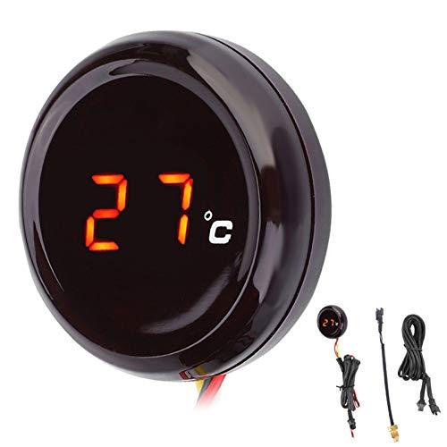 KIMISS Termómetro Digital para Motocicleta Manillar Manillar Impermeable Indicador de Temperatura de visión Nocturna Pantalla LED para Motocicleta de 12 V, Carreras, Scooter, etc.(Rojo)
