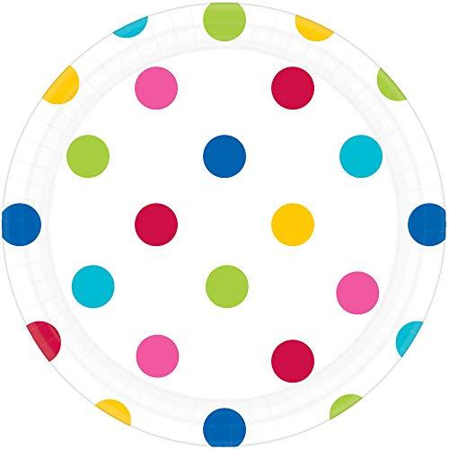 Amscan International 541537–90 18 cm Rainbow Dots Plaque de Papier