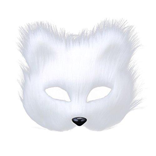 OULII Maskerade Maske Damen Herren Party Halbmasken Fuchs Masken Kostüm für Erwachsene (weiß)