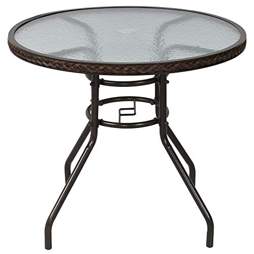 Outsunny Patio Rattan Round Table All Weather Outdoor Dining Wicker Table w/Umbrella Hole for Garden Balcony Poolside Glass Top Brown