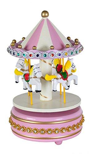 BURI Spieluhr Karussell mit Weihnachtsmelodie 19cm Pferdekarussell Musikuhr Musikdose, Farbe:rosa
