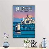 Surfilter Póster de la pintura de la pintura de los viajes de Grand Budapest Pintura de la pintura de la pared Decor Vintage Budapest Hungría Arte Imprimir imagen 50x70cm 20x28 pulgadas No hay marco
