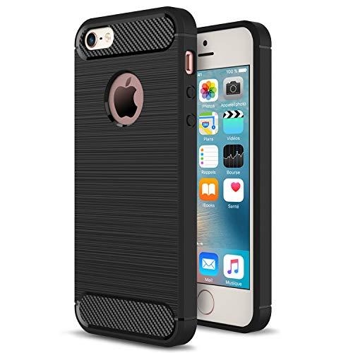 NEW'C Cover Compatibile con iPhone 5 e iPhone 5S e iPhone SE 2016, con Urti Assobirmento e Fibra di Carbonio [Gel Flex Silicone]