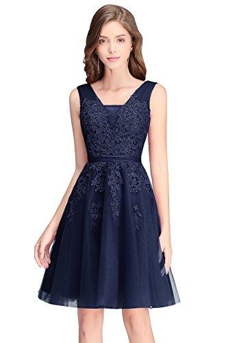 Babyonlinedress 2017 Junior Short Prom Dresses V Neck Homecoming Gown,Navy Blue,Size 16