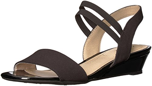 LifeStride Women's YOLO Wedge Sandal, Black, 8.5 W US
