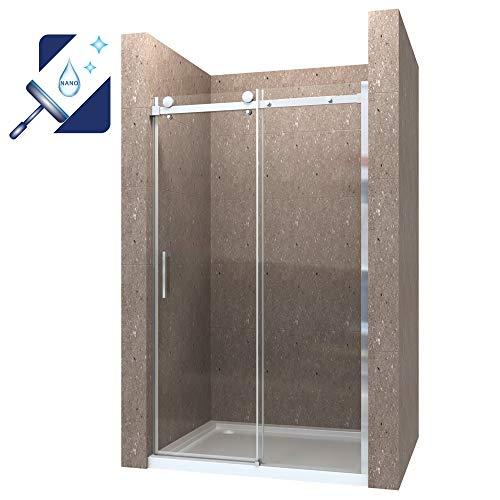 AQUABATOS® 120cm Duschabtrennung Duschtür Nischentür Schiebetür Duschwand Duschtrennwand 8mm ESG Glas mit Nano Beschichtung Höhe 195cm