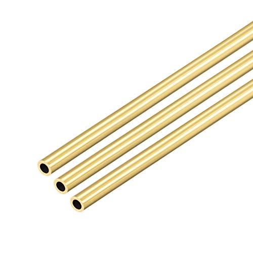 sourcing map Rundes Rohr aus Messing, 0,5 mm Wandicke nahtloses gerades Rohr Schlauch 3mm AD x 0,5mm Wand, 3St