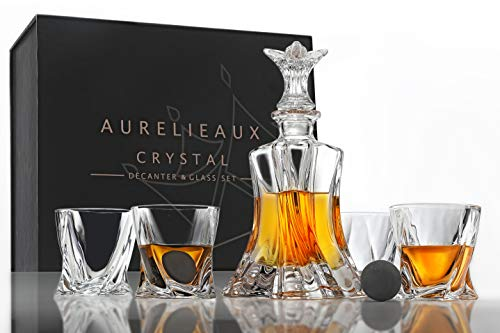 Unique Whiskey Decanter and Glass Set - Premium LeadFree Crystal Decanter and Whiskey Glasses, with King Sized Whiskey Stones, Sophisticated Luxury Bourbon Gifts for Men, Elegant Liquor Dispenser