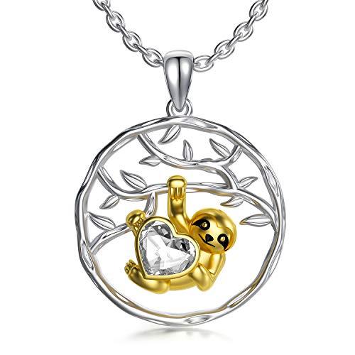Faultier Kette Sterling Silber Faultier Geschenke Schmuck mit Kristallen von Swarovski, Geburtstagsgeschenke für Frauen Mädchen (Gelb)