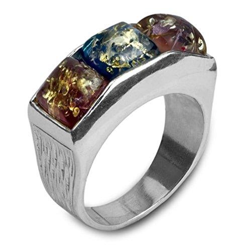 Mehrfarbiger Bernstein Sterling Silber Quadraten Platz Ring